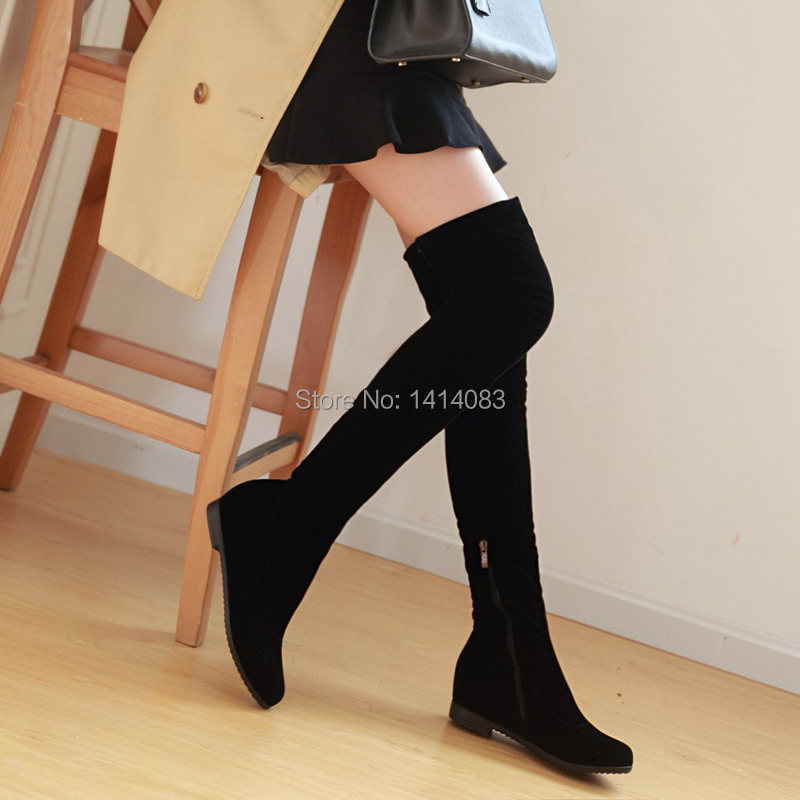 South korean style autumn luxurious over knee high boots nubuck round toe side zipper flat warm riding women boots ladies shoes(China (Mainland))