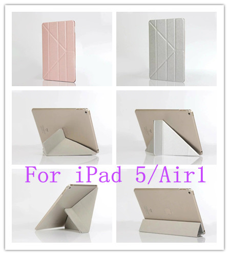 Tablet Cases for iPad 5/Air 1 Case 360 Rotation Silk Leather Case for iPad Air1 Smart Cover ipad 5 Flip Case With Stand Function(China (Mainland))