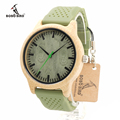 Brand Men s Bamboo Watches Silicone Strap Men and Women JAPAN Move 2035 Quartz Wooden Writwatches