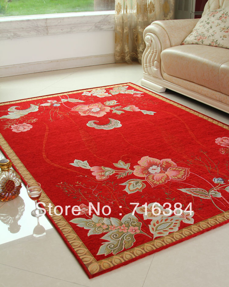 Chinese Style Printed Carpet 50CM*80CM Red Area Rugs For
