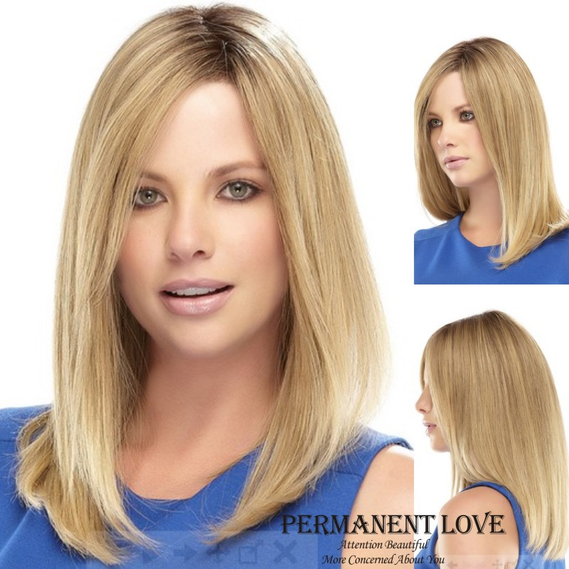 Long Straight Pale blonde u part Wig Synthetic hair wigs for Women natural hairline 2015 Fashion Heat Resistant Wigs perruque(China (Mainland))