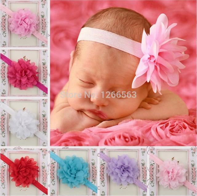 Мода аксессуары для волос девочка ободки шифон цветок повязка на голову Diademas ...