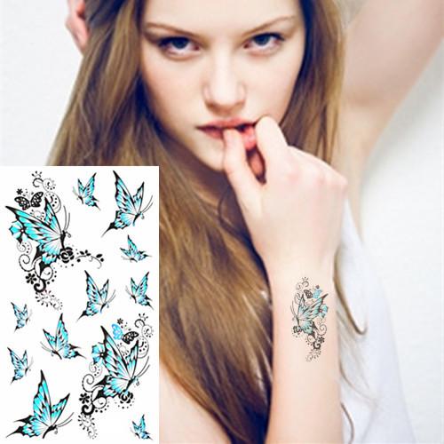 White Blue Butterfly Flash Tattoo Sticker 17*10cm Waterproof Henna Tatto Summer Style Tatoo Temporary Body Art FREE SHIPPING(China (Mainland))