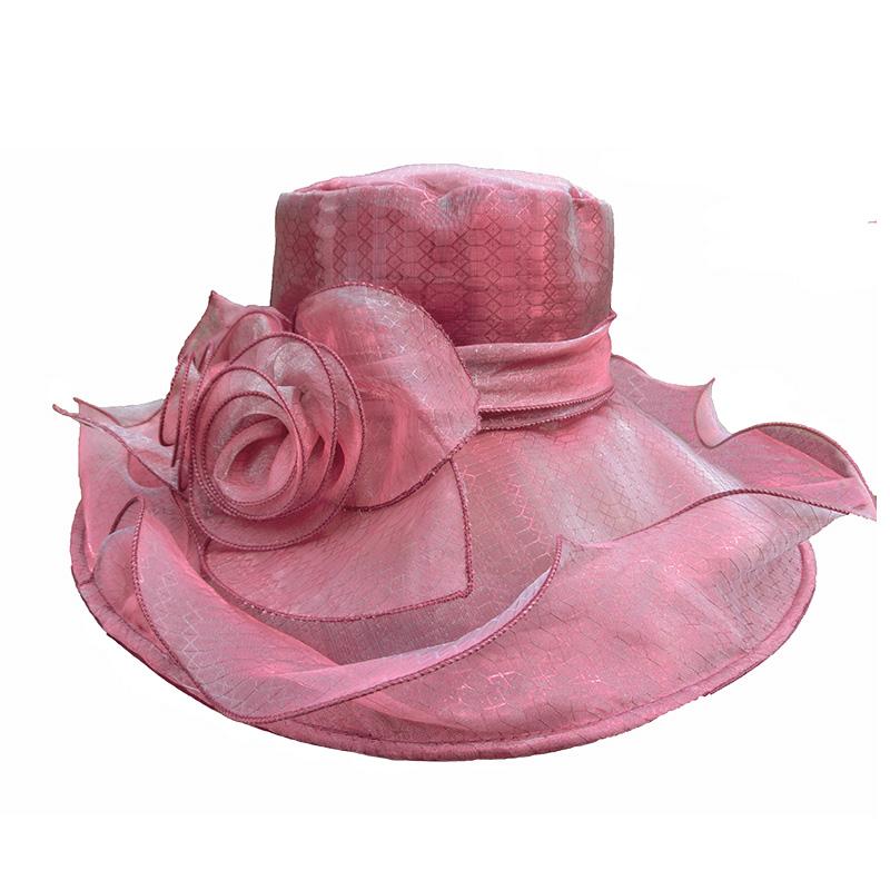 UV Protect Wide Brim Women Organza Lace Wedding Hat Sun Visor Hat For Women Summer Beach Hat Foldable Chapeu Panama Fedora Red(China (Mainland))