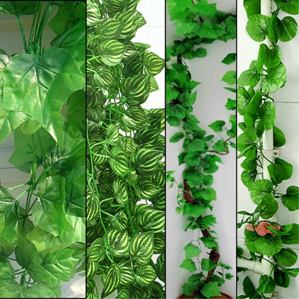 230cm Long 4 styles Artificial Plants Green Ivy Leaves Artificial Grape Vine Fake Foliage Leaves Home Wedding Decoration(China (Mainland))