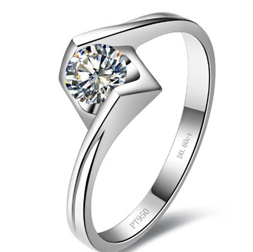 0.6 CT Sterling Silver 925 Platinum Plated Kiss Engel Wedding Rings Engagement Synthetic Diamond Women - CHARMING JEWELRY,.LTD store