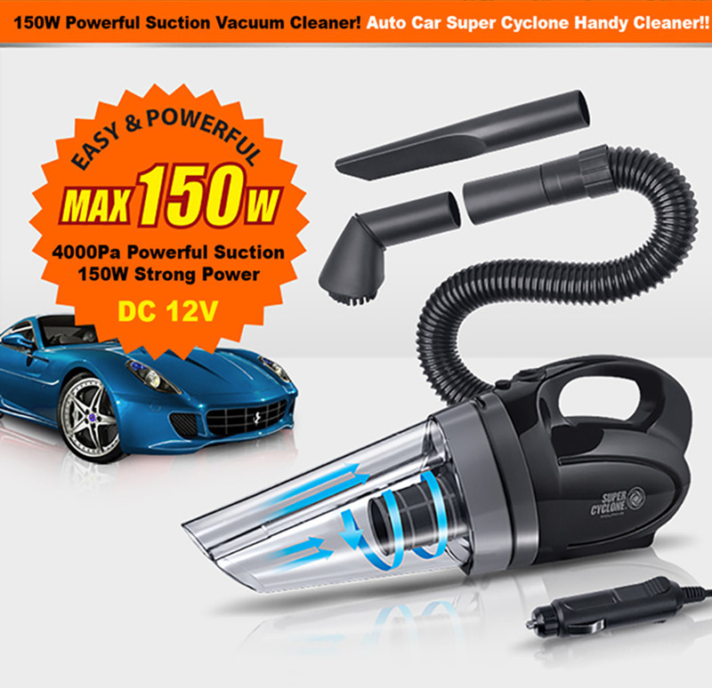 Portable Super Cyclone Handheld Car Vacuum Cleaner Wet Dry 12V 150W Dirt Dust Convenient Vacuum for Quick Clean-ups Around Car(China (Mainland))
