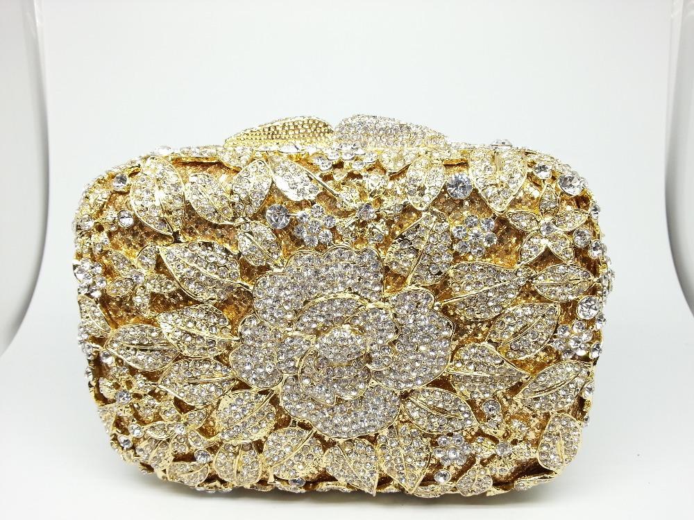 Здесь можно купить  Gift Box Floral Metal Casual Clutch Women Handbags Rhinestones Clutches Ladies Crystal Purses Evening Bags Hard Case Minaudiere  Камера и Сумки