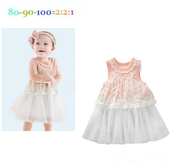 2014 New summer baby girl dress cute girls princess pink embroidered lace vest children dresses