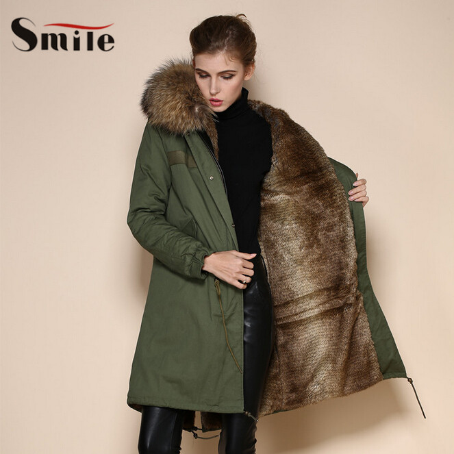 High Top Quality Winter Thicken Natural Color Fur Collar Women Parkas Womens Thickening Long Military Parka Coats Jackets 2015(China (Mainland))