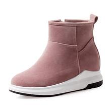Mùa Đông 2020 Size Lớn 34-43 Nữ Phẳng Nền Tảng Mắt Cá Chân Giày Đen Thêm Lông Giày Casual Giày Đế Xuồng Người Phụ Nữ(China)