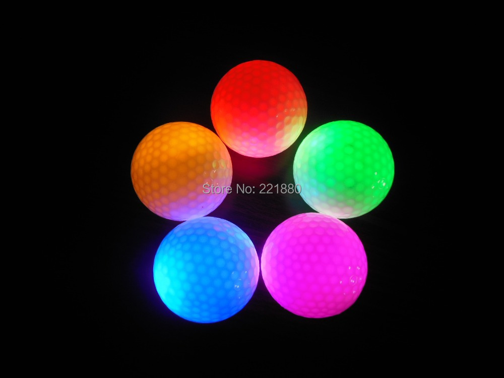 Promotion 10 pcs/lot Red/Blue/Green LED Constant Shining luminous Golf Balls With Colorful Glowing Golf Training Ball(China (Mainland))
