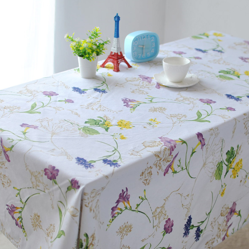 Modern European style Pastoral cotton canvas table cloth tablecloths coffee table fresh flower vine drape round(China (Mainland))