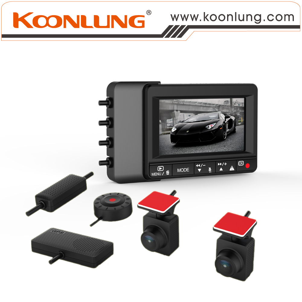 Car DVR of Koonlung K1S Dual Cameras 1080P HD Pictures with Small Unit and Upgrade Version with OV2715 Sensor Extra Cable Clip(China (Mainland))