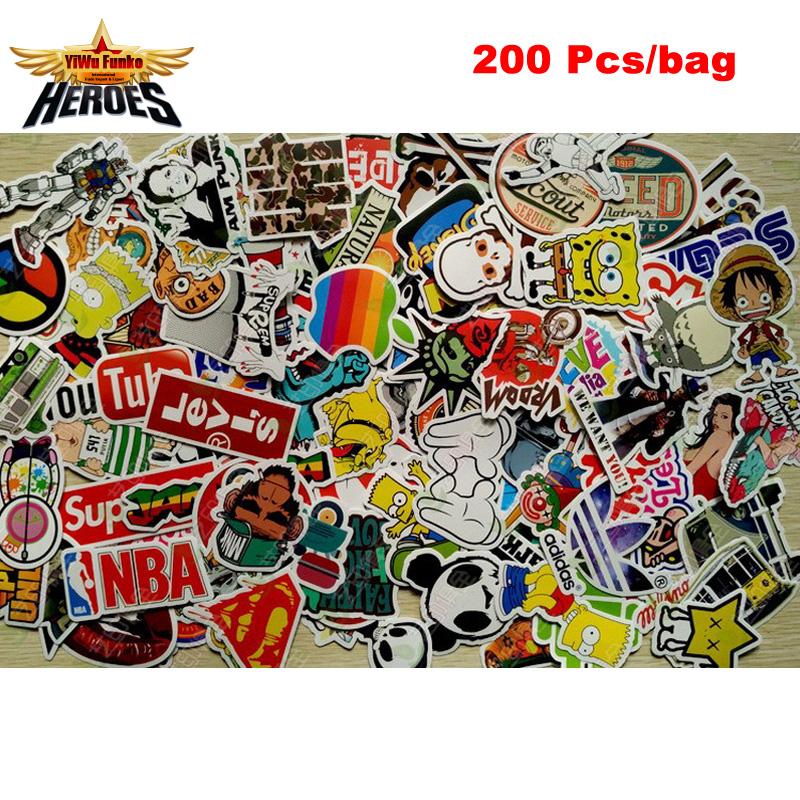 200 Pcs mixed Sticker toy Style Skateboard Laptop Luggage Snowboard Car Fridge Phone DIY Vinyl Decal home decor Stickers Lct_037(China (Mainland))