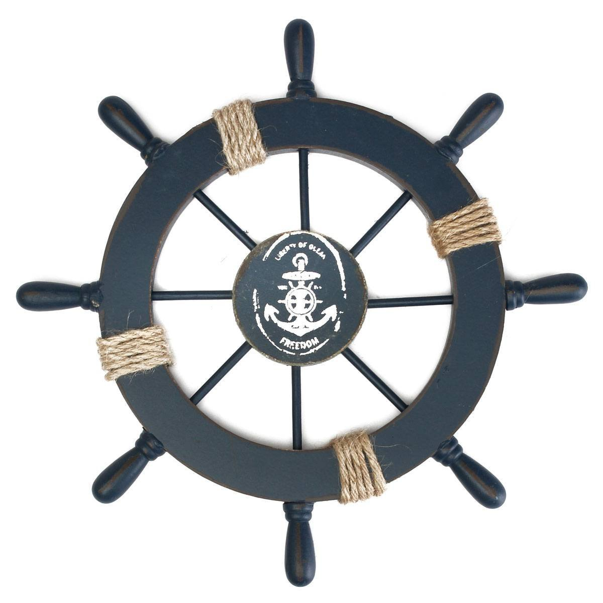 Mediterranean Nautical Wooden Boat Ship Wheel Helm Home Wall Party Decoration (Dark Blue)(China (Mainland))