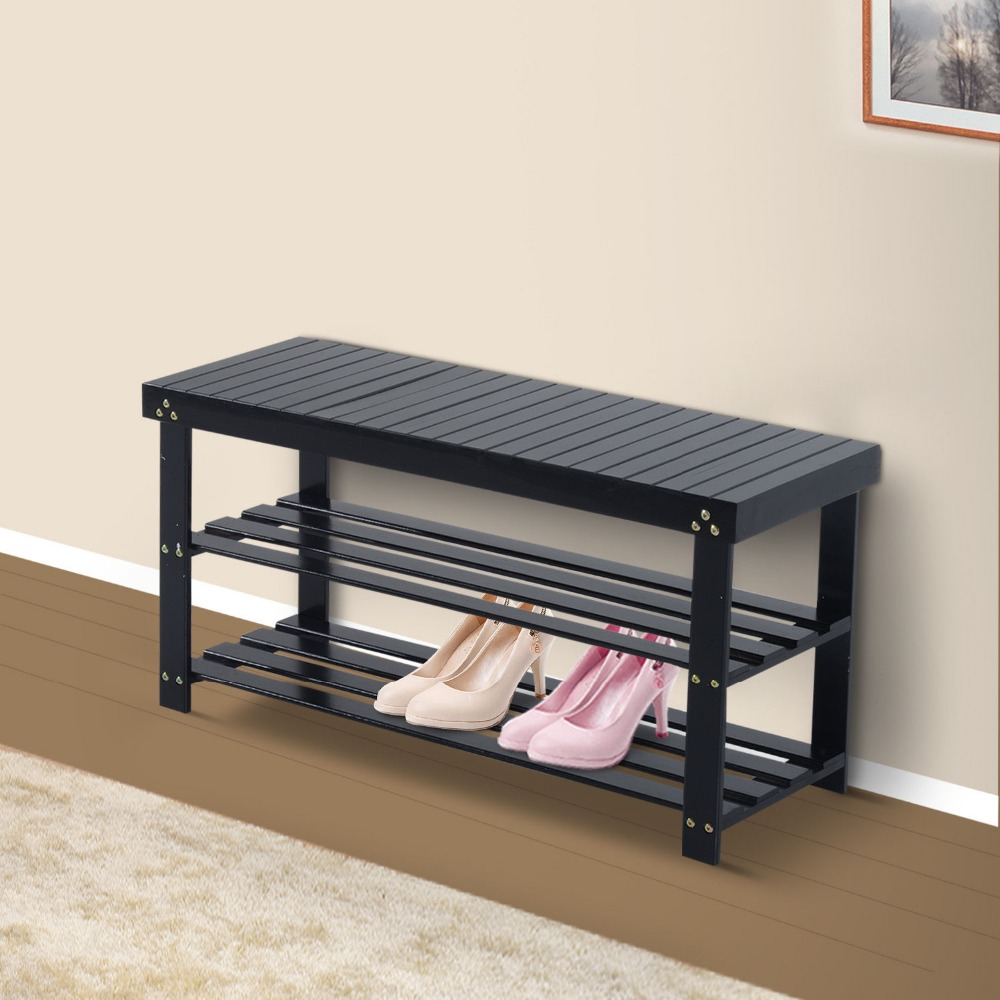Wooden Shoe Bench Storage Seat Entryway Furniture Black New In Shoe Racks From Furniture On