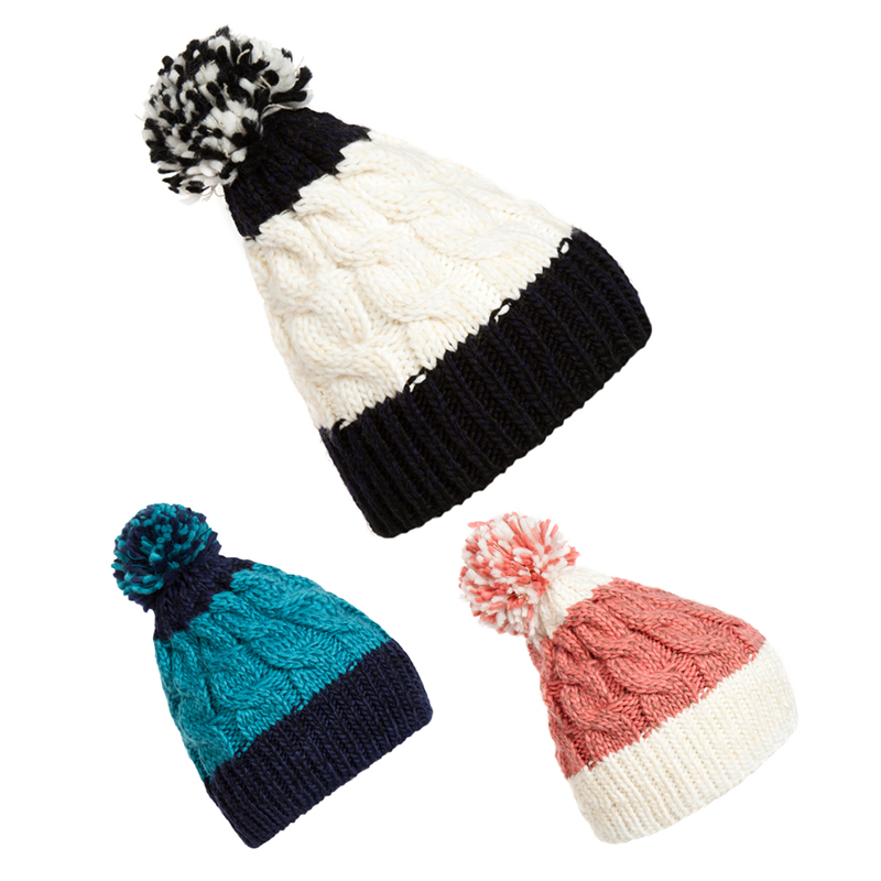 Lovely Girl lady fashion New Winter Warm Giant Bobble Hat Fashion Chunky Ski Slouch Cable Knit Cap Blue Pink and White(China (Mainland))