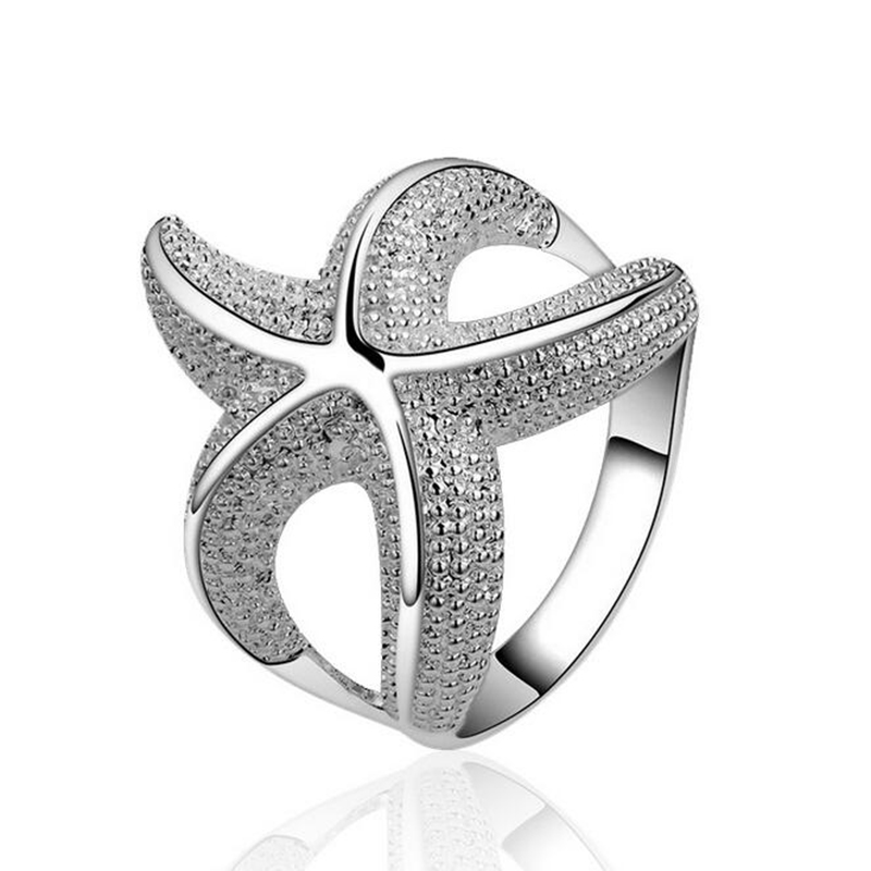 2016 New Vintage Charms Animal Sea Star Silver Plated Wedding Rings for Women LYR1(China (Mainland))