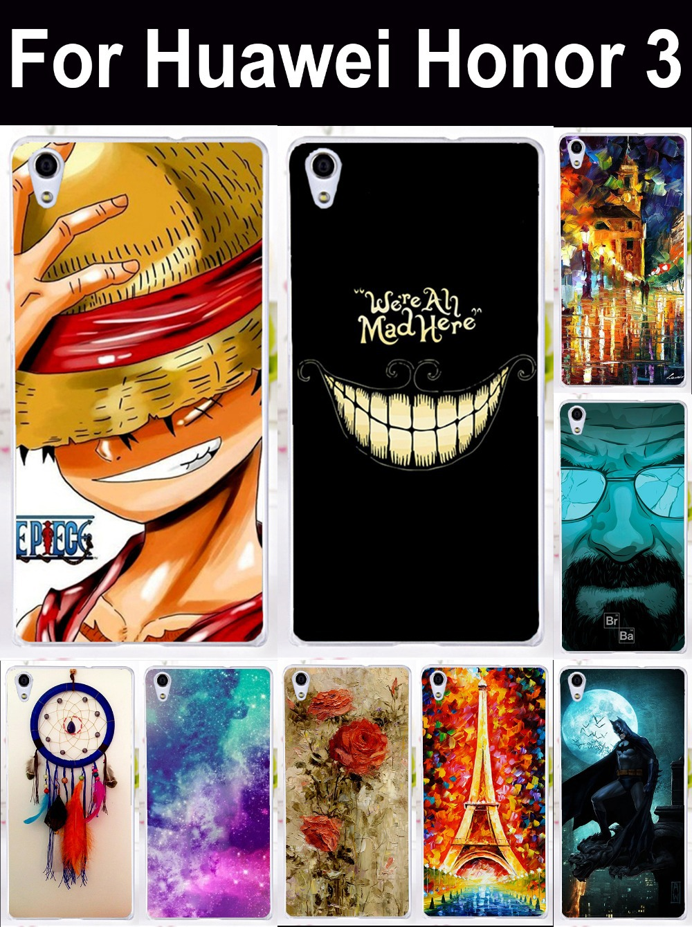 Cell Phone Bags Housings For Huawei Honor3 Honor 3 Case Cover Skin Shell Covers Marvel Captain American Batman Shield Casses(China (Mainland))