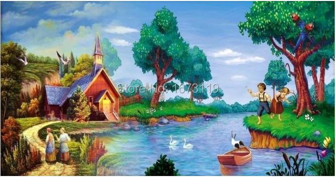 2014 new full drill diamond embroidery diy needlework diamond mosaic home decoration paint paint lake and cabin(China (Mainland))