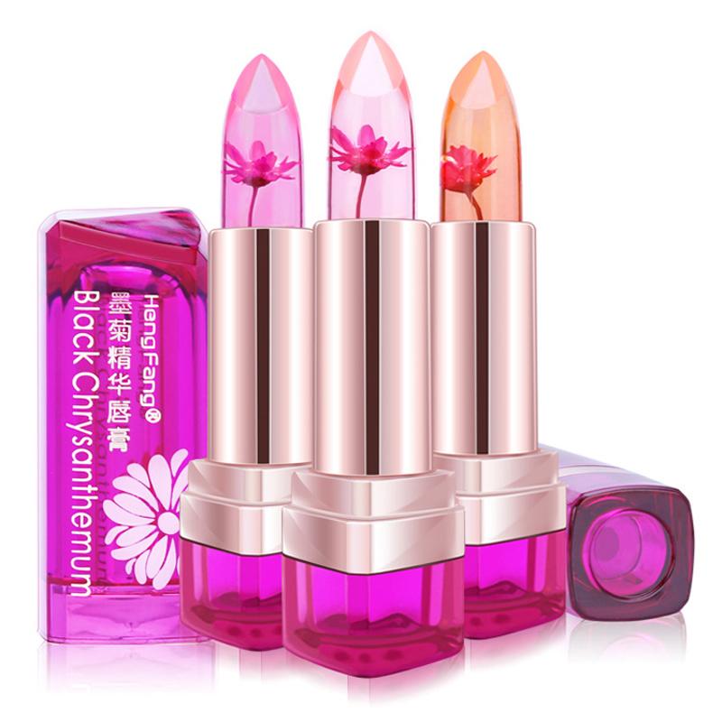 Brand New Black Chrysanthemum Magic Jelly Lipstick Waterproof Moisturizer Lip-Balm Color-change Tattoo Lips Matte Jelly Lipstick(China (Mainland))