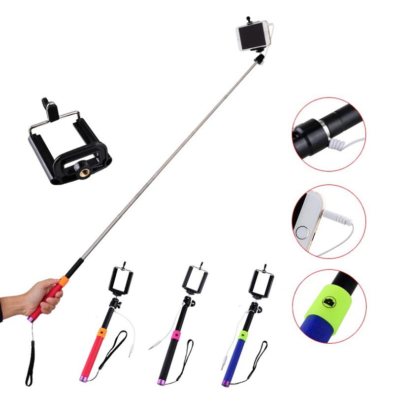 Briloom Super Mini Wired vezes auto Extendable Self Portrait Handheld Stick Monopod Camera for iPhone for Samsung Free Shipping(China (Mainland))