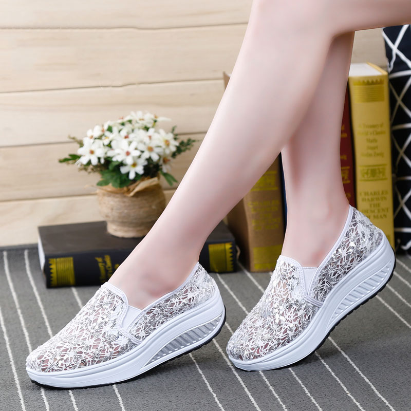 2017 New Breathable Women Platform Casual Shoes Lace Loafers Bling Creepers Female Slip On Wedges Lose Weight chaussure femme(China (Mainland))