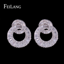 Fellang Simple Fashion Platinum Plated Earrings With Tiny Dazzling Cubic Zircon Diamond Earrings For Pretty  Women FSEP371(China (Mainland))