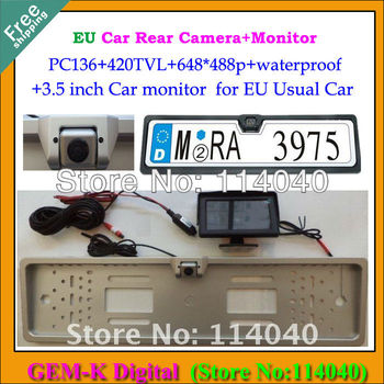 Free shipping 3.5inch rear monitor+License Plate Frame car backup reverse parking rear camera with PC136 for  European /EU Cars
