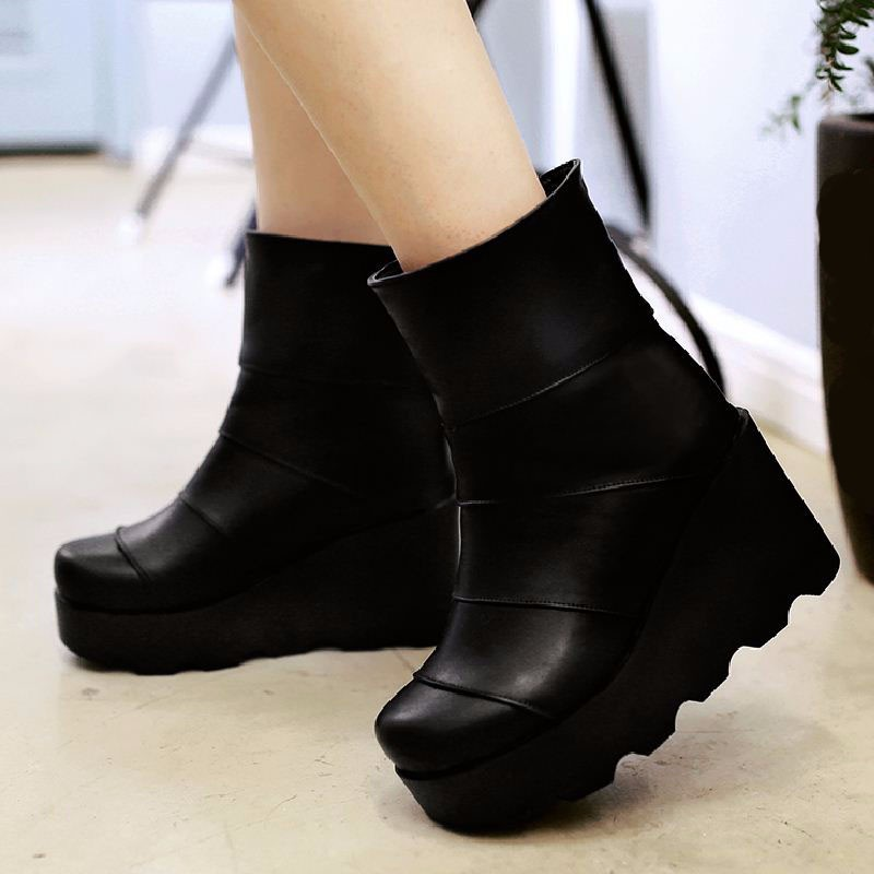 Stylish Add Fur Women's Winter Boots High Heels Wedges Platform Boots 2016 Fashion Shoes Woman Fall Ankle Boots