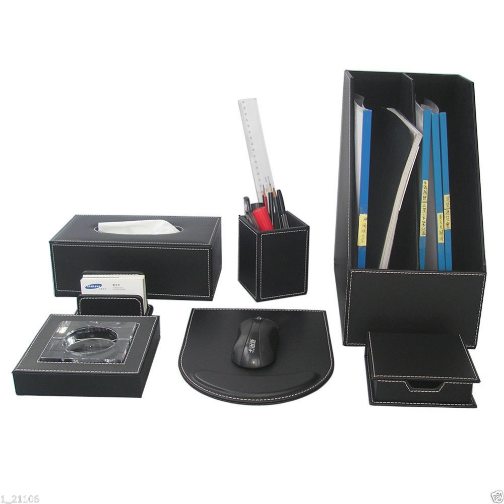 Ever Perfect 7pcs Set Wood Black Leather Office File Stationery Desk Organizer Pen Holder Box