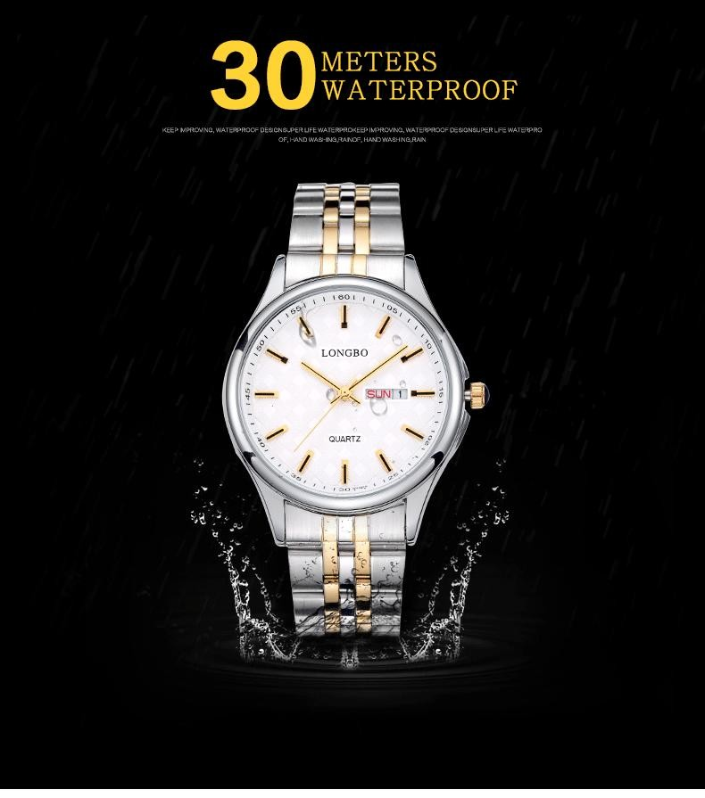 LONGBO Мода Повседневная Нержавеющей Стали Пара Кварцевые Часы Luxury Brand Влюбленных Водонепроницаемый Авто Дата Наручные Часы Relogio 80085