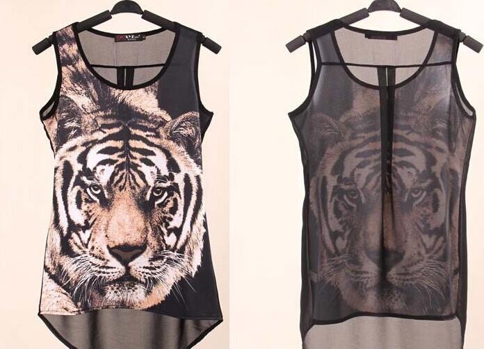 Summer Style Tiger Printed Tank Top Women Tops Casual Chiffon Black Shirt Women Blouses Camisas Blusa Blusas Femininas 2015(China (Mainland))