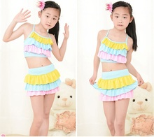 Summer Lovely Kids Floral Swim Suit Fresh Comfortable Swimsuit For Girl 14 Two Pieces Pants New Bathing Suit Girls