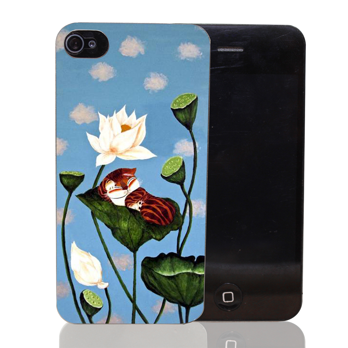 641CA Cat on the lotus leaf Hard Transparent Case Cover for iPhone 4 4s 5 5s 5c SE 6 6s Plus Thin Style(China (Mainland))