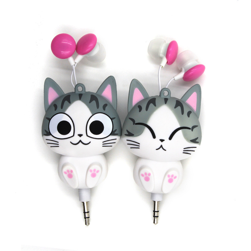 Cute Cheese Cat Cartoon Automatic Retractable Earphones for Mobile Phone for iphone 6s for girl Cartoon Earphones Cute Headphone(China (Mainland))