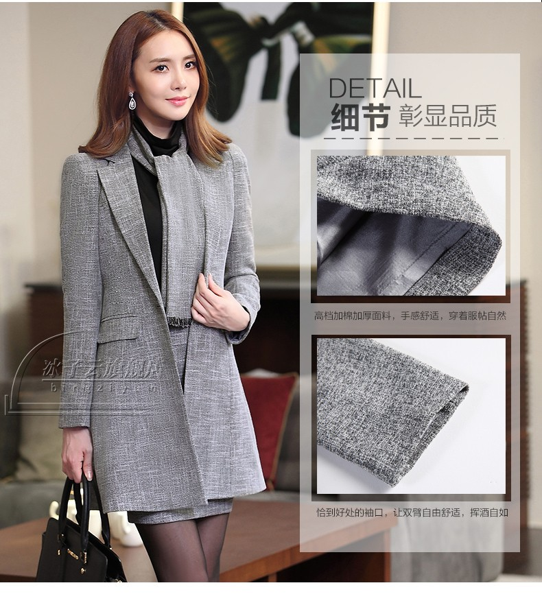 Women's autumn and winter wear thick warm suits dress OL commuter temperament overalls