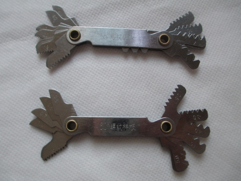 Excellent quality 20 blades Gauging Tools Gauges 1pc 55 degree Whitworth+1pc 60 degree Metric Screw Thread Pitch Measure Gage(China (Mainland))