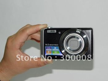 """Original 14MP SONY CCD sensor digital camera with 5X optical zoom, 3"""" TFT touch screen,built-in speaker and microphone"""