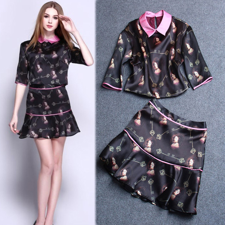 Europe US Brand Spring Summer new latest Print Runway Retro Jacket + Skirt smooth soft Silk two-pieces Dress - Joyful Shop store