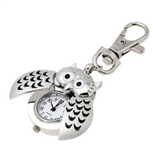 2016 Special Designed Pocket Fob Watch Mini Metal Key Ring owl Double Open Quartz Alloy Analog Watch Clock Silver Freeshipping(China (Mainland))
