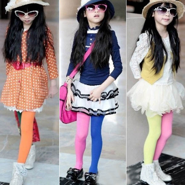 5PCS/Lot Baby Girls New Fasion Two-color Pantyhose Legging Candy Color AB Pants Children Stockings(China (Mainland))