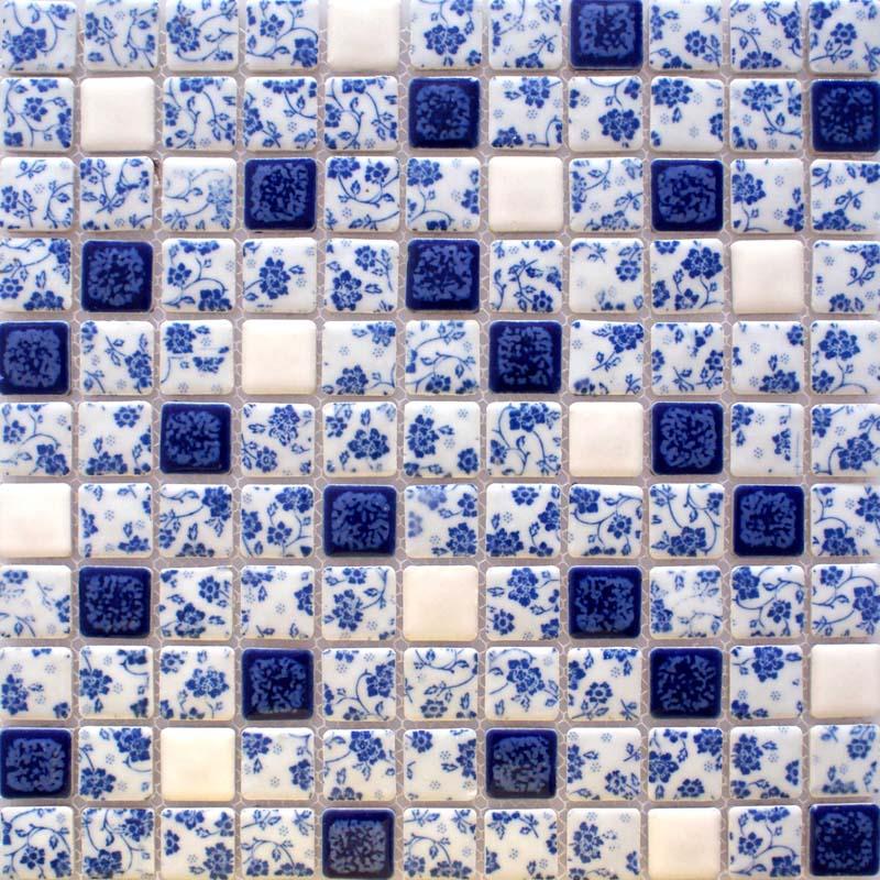 glazed porcelain tile backsplash adt33 blue and white