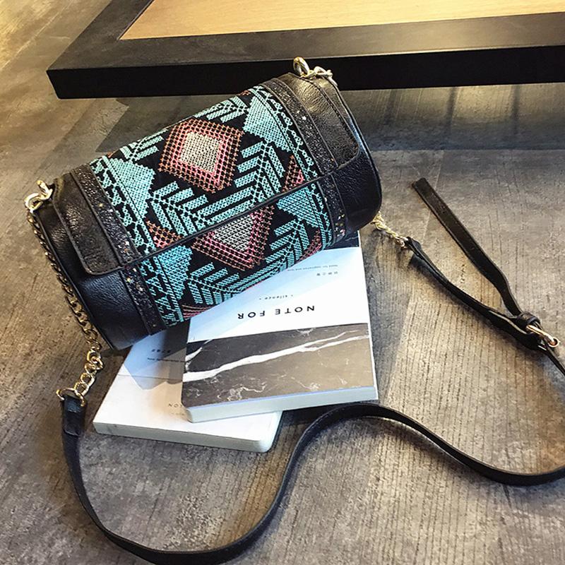 Bohemia Ethnic bag vintage leather handbag India style Cylindrical bag fashion messenger bags small shoulder crossbody bags new(China (Mainland))