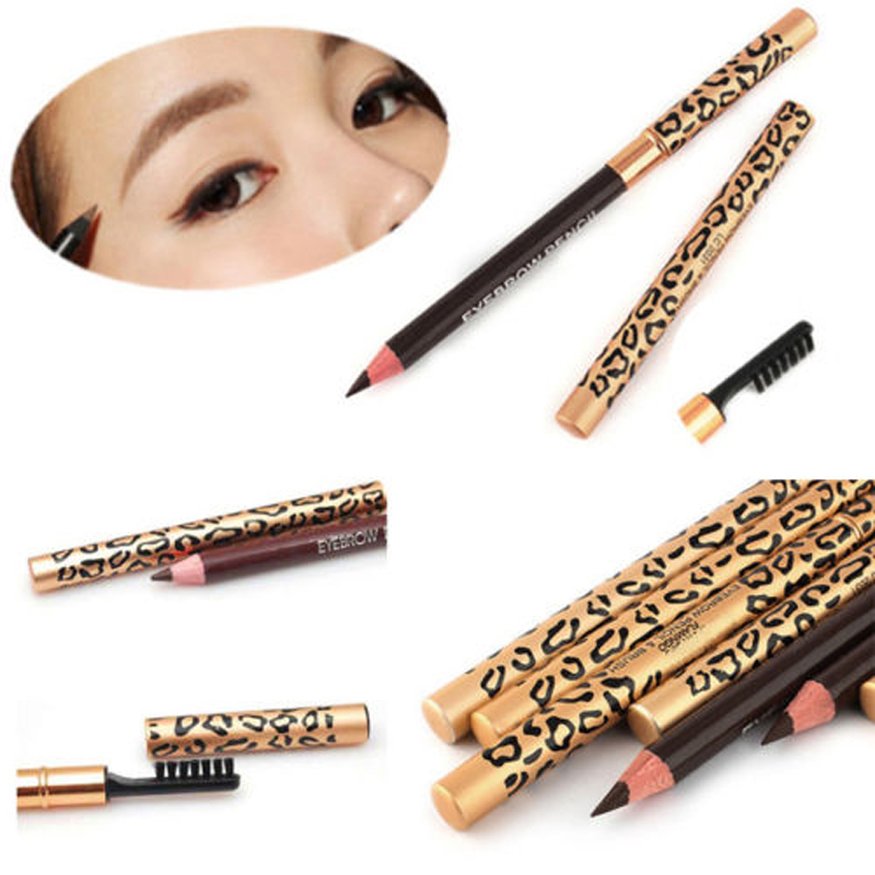 High Quality Leopard Women Eyebrow Waterproof Pencil WithBrush MakeUp Eyeliner Hotsell Promotion Popular New Retail