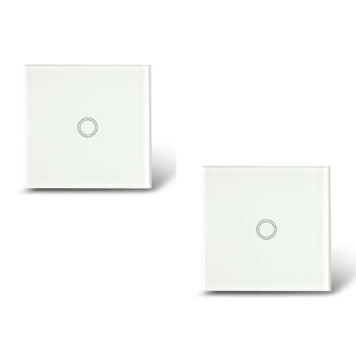 Free Shipping, 2pcs/Set, EU Type 1 Gang 2 Way Touch Light Switch with blue LED indicator,Glass Panel Intermediate Touch Switches<br><br>Aliexpress
