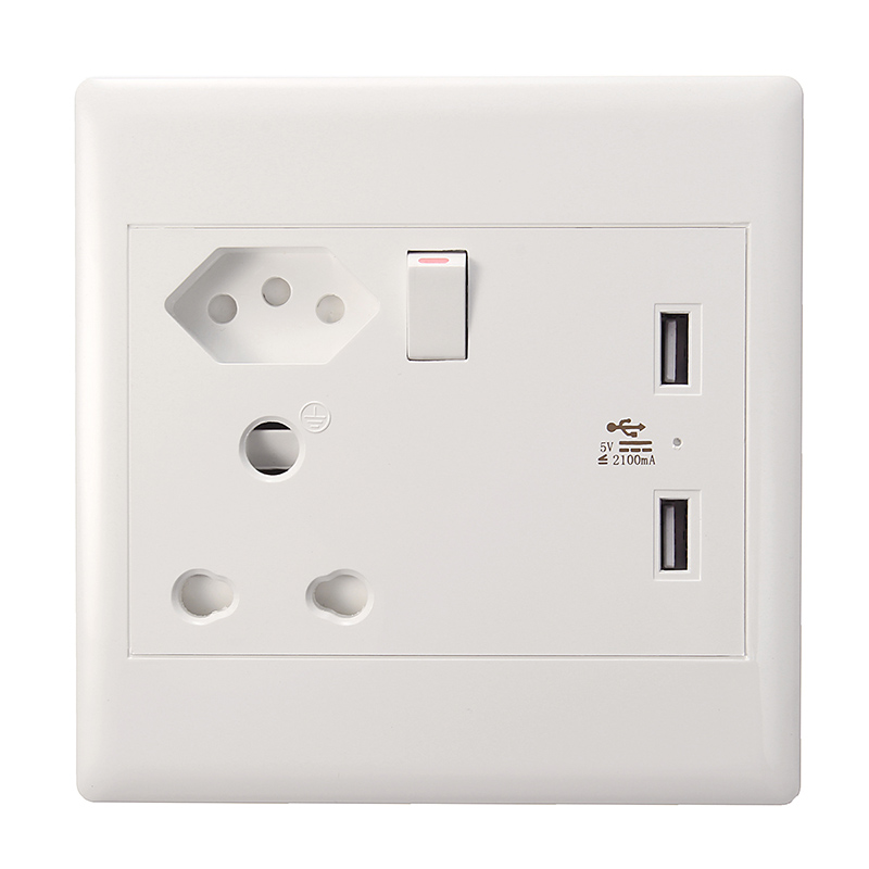 16A 250V USB Wall Socket US Plug Dual USB Port Charger Power Wall Outlet Receptacle Panel With Switch South Africa Brazil Plug(China (Mainland))
