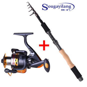 Hot 2.1m/2.4m/2.7m Carbon Telescopic Fishing Rod and 14BB Spinning Fishing Reel Wood Handle Carp Boat Fishing Pole Combo Set