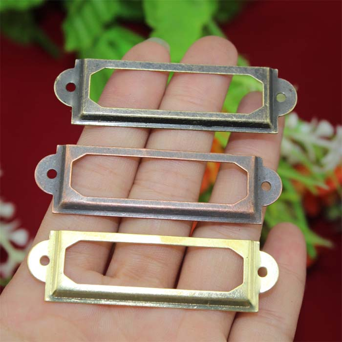 Гаджет  Gold Bronze Iron Label Frame Card Holder For drawer box case bin cabinet Size small 60*17mm None Мебель